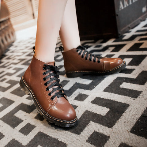 PU Pure Color Round Toe Flat Heel Lace Up Martin Boots 7 Brown