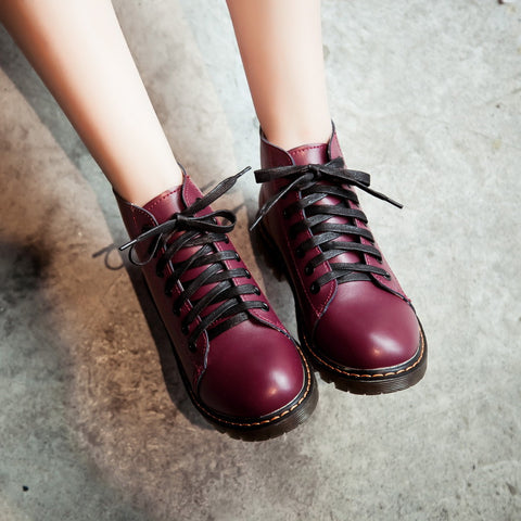 PU Pure Color Round Toe Flat Heel Lace Up Martin Boots 7 Wine red