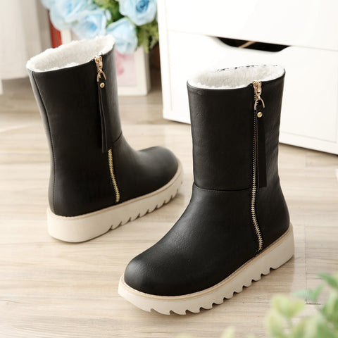 PU Pure Color Round Toe Flat Heel Side Zipper Short Boots 9 Black