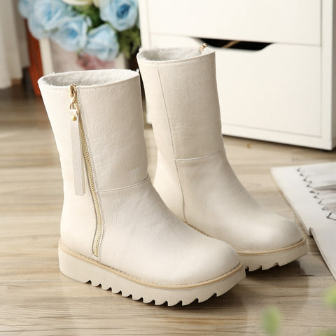 PU Pure Color Round Toe Flat Heel Side Zipper Short Boots 9 White
