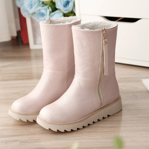 PU Pure Color Round Toe Flat Heel Side Zipper Short Boots 9 Pink