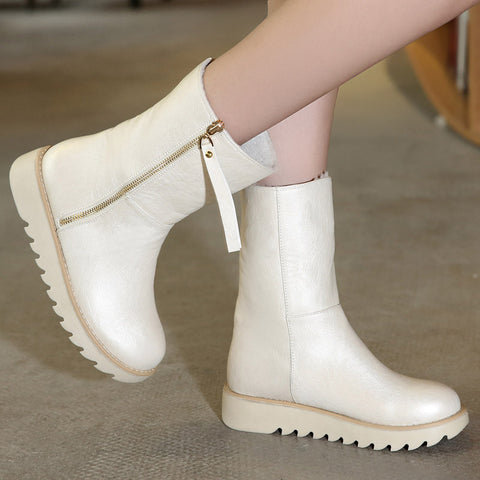 PU Pure Color Round Toe Flat Heel Side Zipper Short Boots 9.5 White