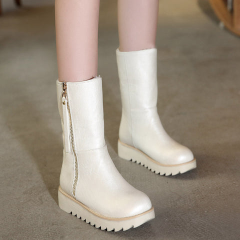 PU Pure Color Round Toe Flat Heel Side Zipper Short Boots 8 White