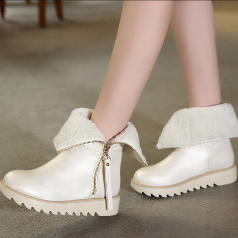 PU Pure Color Round Toe Flat Heel Side Zipper Short Boots 8.5 White