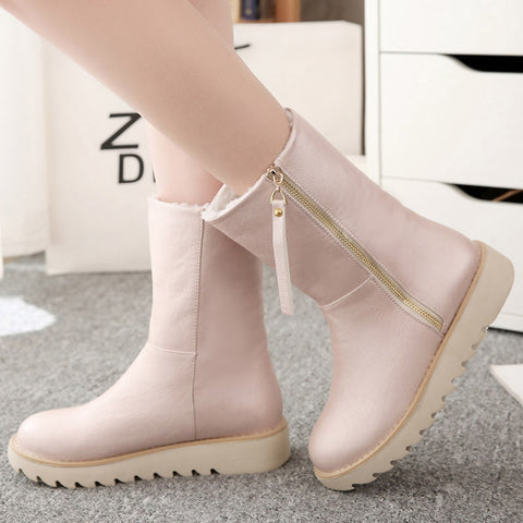 PU Pure Color Round Toe Flat Heel Side Zipper Short Boots 8 Pink