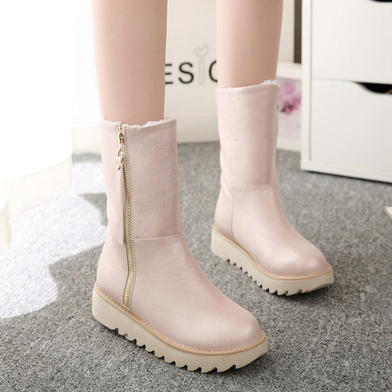 PU Pure Color Round Toe Flat Heel Side Zipper Short Boots 9.5 Pink