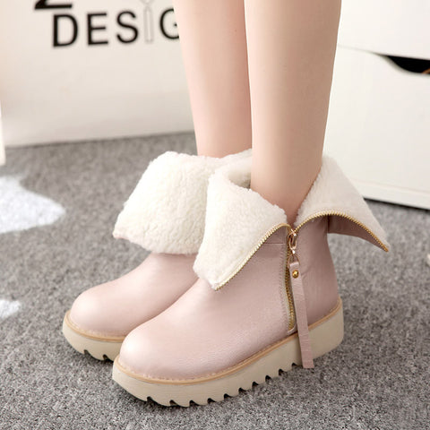 PU Pure Color Round Toe Flat Heel Side Zipper Short Boots 8.5 Pink