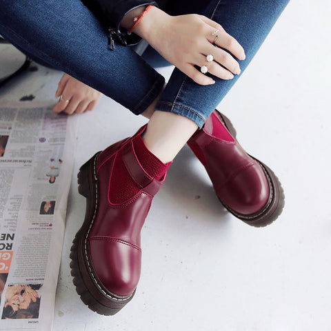 PU Pure Color Round Toe Low Block Heel Buckle Ankle Boots 40 Wine red