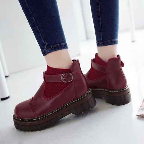 PU Pure Color Round Toe Low Block Heel Buckle Ankle Boots 41 Wine red