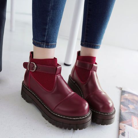 PU Pure Color Round Toe Low Block Heel Buckle Ankle Boots 43 Wine red