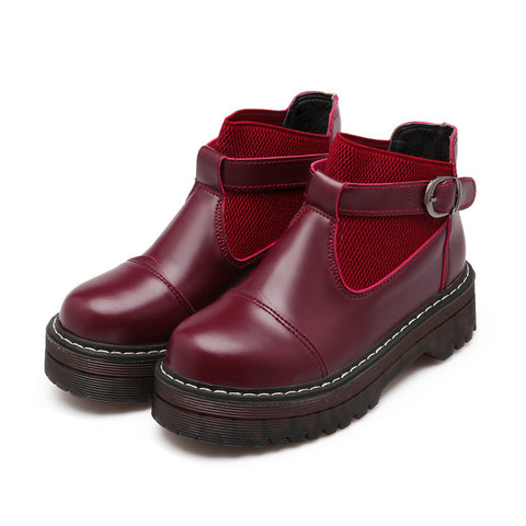 PU Pure Color Round Toe Low Block Heel Buckle Ankle Boots 42 Wine red