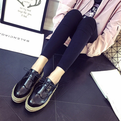 PU Simple Round Toe Platform Lace Up Brogues 6 Black