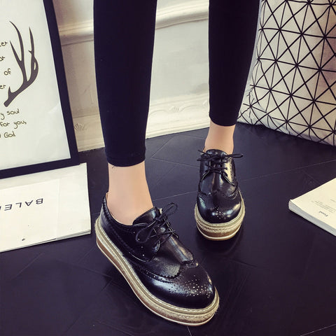PU Simple Round Toe Platform Lace Up Brogues 7.5 Black