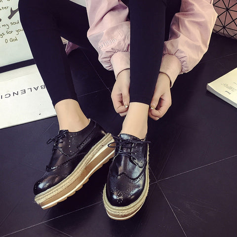 PU Simple Round Toe Platform Lace Up Brogues 7 Black