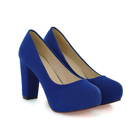 Pure Color Suede Round Toe Block Heel High Heels 9 Blue