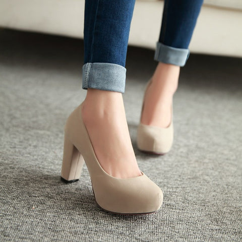Pure Color Suede Round Toe Block Heel High Heels 9.5 Beige