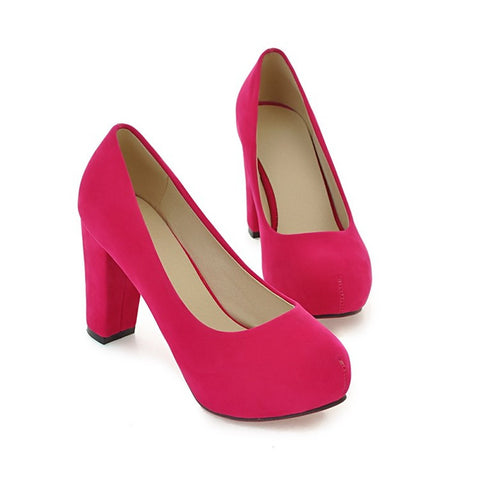 Pure Color Suede Round Toe Block Heel High Heels 9 Rose