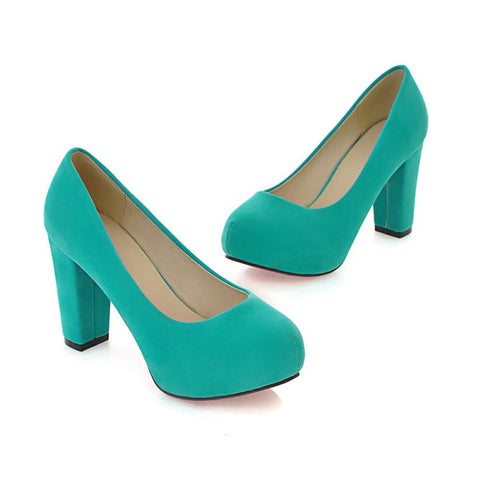 Pure Color Suede Round Toe Block Heel High Heels 9 Green