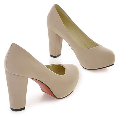 Pure Color Suede Round Toe Block Heel High Heels 9 Beige