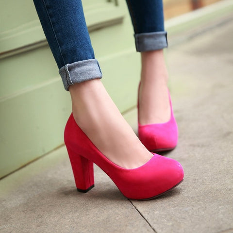 Pure Color Suede Round Toe Block Heel High Heels 9.5 Rose