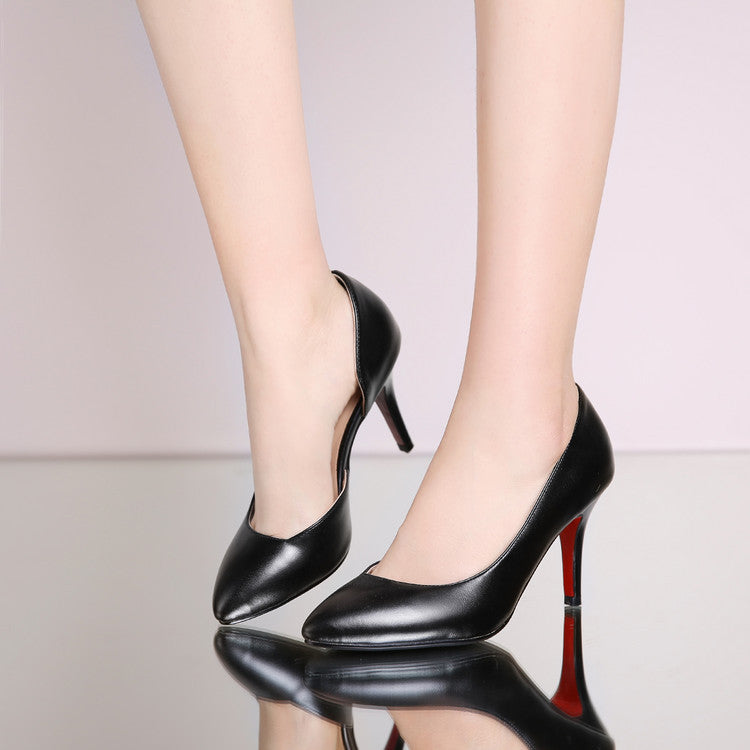 Pure Color PU Pointed Toe High Heel Pumps 7 Black