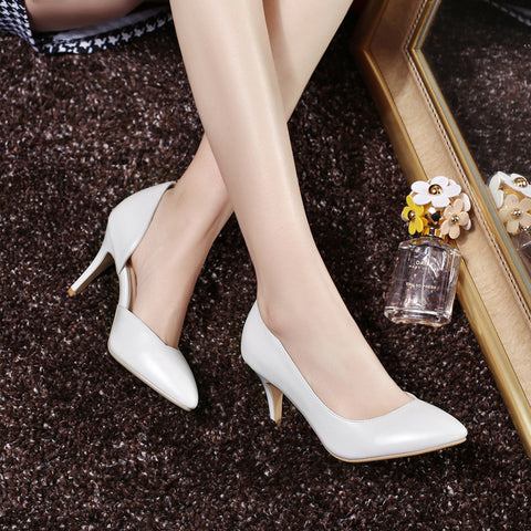 Pure Color PU Pointed Toe High Heel Pumps 7.5 White