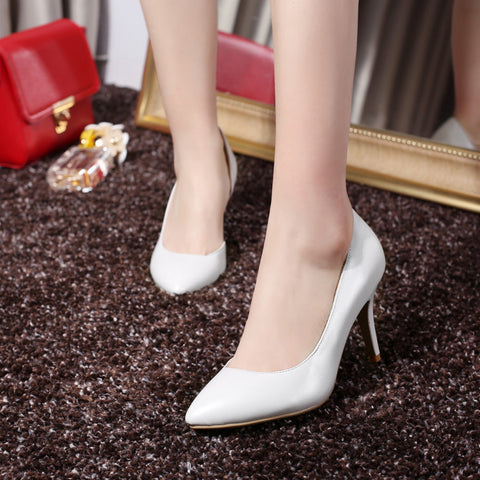 Pure Color PU Pointed Toe High Heel Pumps 7 White