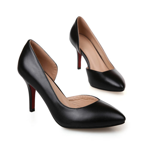 Pure Color PU Pointed Toe High Heel Pumps 8 Black