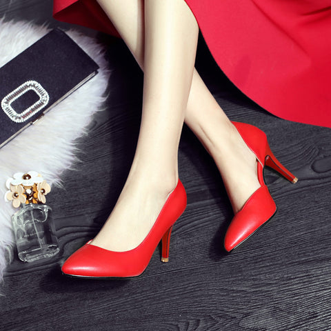 Pure Color PU Pointed Toe High Heel Pumps 7.5 Red