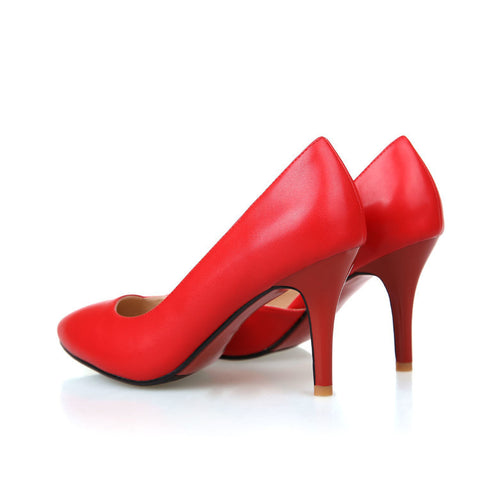 Pure Color PU Pointed Toe High Heel Pumps 8 Red