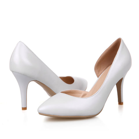 Pure Color PU Pointed Toe High Heel Pumps 8 White