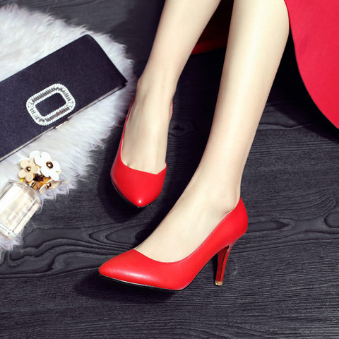 Pure Color PU Pointed Toe High Heel Pumps 7 Red