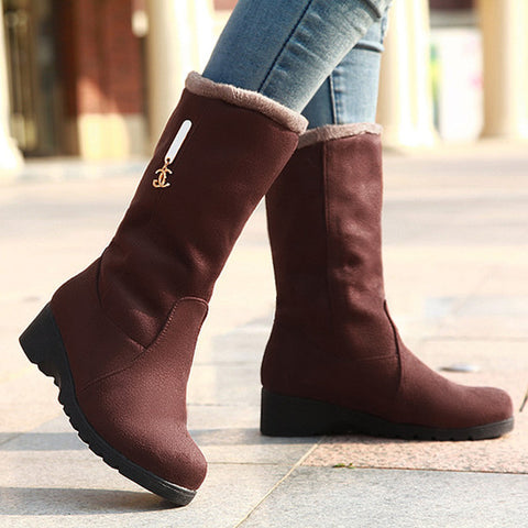 Pure Color Suede Round Toe Middle Heel Mid-calf Boots 9.5 Chocolate