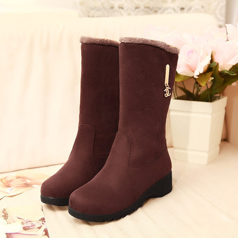 Pure Color Suede Round Toe Middle Heel Mid-calf Boots 9 Chocolate