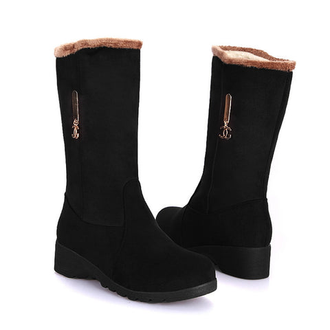Pure Color Suede Round Toe Middle Heel Mid-calf Boots 9 Black