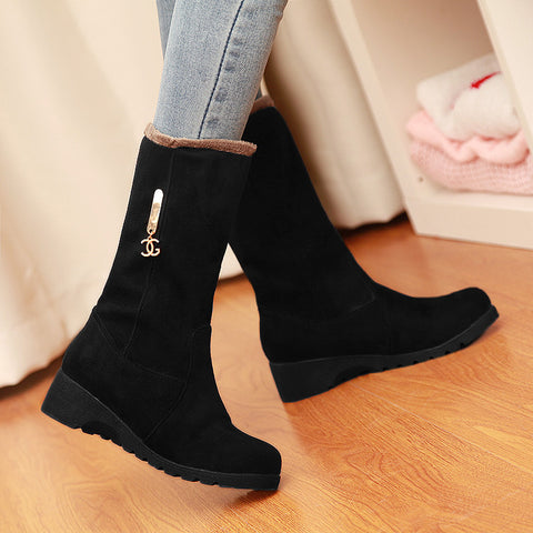Pure Color Suede Round Toe Middle Heel Mid-calf Boots 9.5 Black