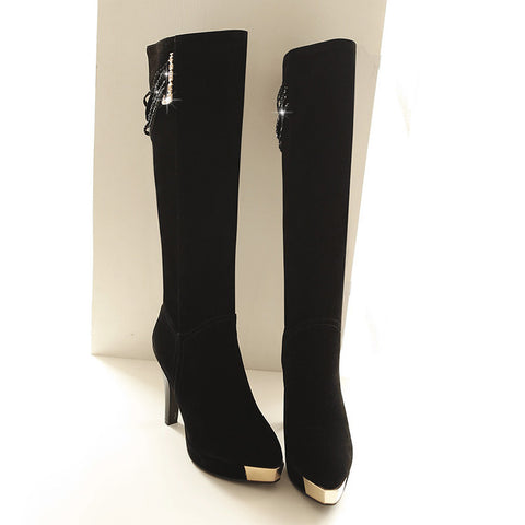 Suede Pure Color Point Toe High Heel Knee High Boots 9.5 Black
