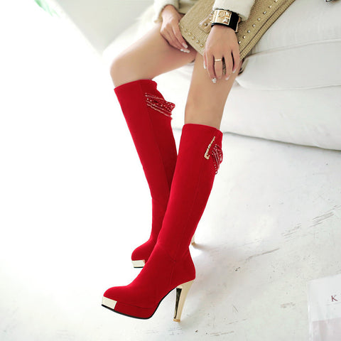 Suede Pure Color Point Toe High Heel Knee High Boots 8.5 Red