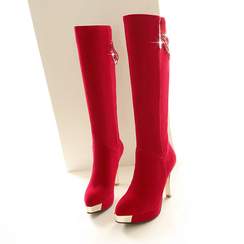 Suede Pure Color Point Toe High Heel Knee High Boots 9.5 Red