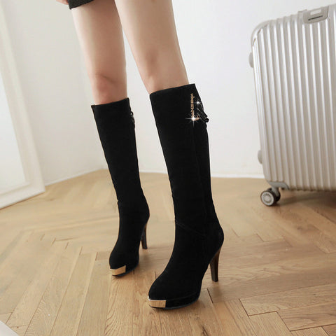 Suede Pure Color Point Toe High Heel Knee High Boots 8.5 Black