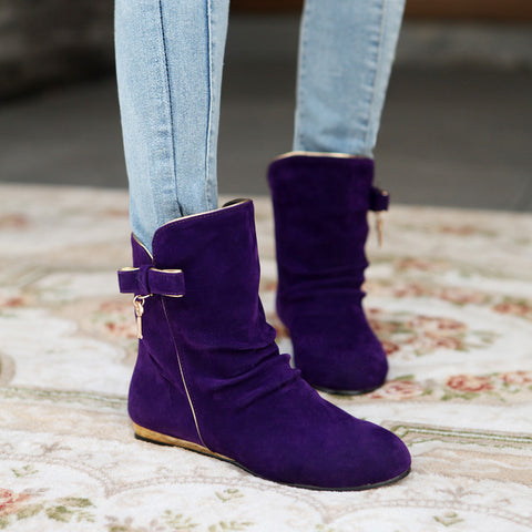 Suede Round Toe Flat Heel Short Boots 8.5 Grape