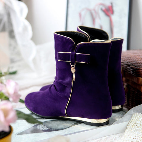 Suede Round Toe Flat Heel Short Boots 9 Grape
