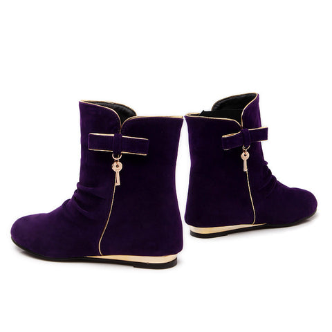 Suede Round Toe Flat Heel Short Boots 9.5 Grape