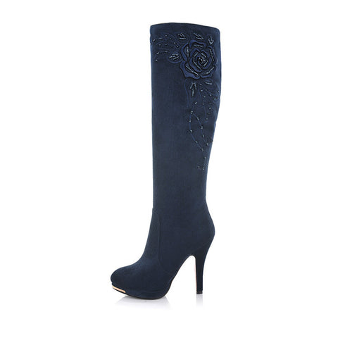 Suede Round Toe Knee High Boots 6.5 Dark blue