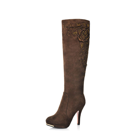 Suede Round Toe Knee High Boots 6.5 Coffee