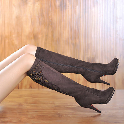 Suede Round Toe Knee High Boots 7 Coffee