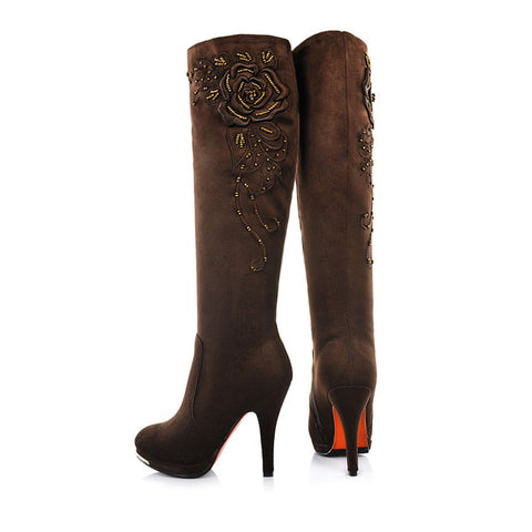 Suede Round Toe Knee High Boots 7.5 Coffee