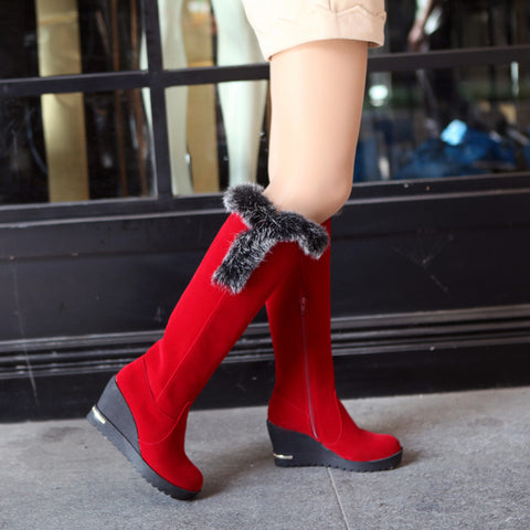 Pu Round Toe Wedge Heel Knee High Boots 8.5 Red