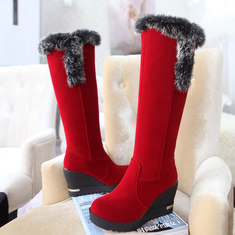 Pu Round Toe Wedge Heel Knee High Boots 9 Red
