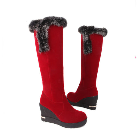 Pu Round Toe Wedge Heel Knee High Boots 9.5 Red